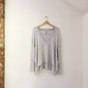 Free People Drapey Oversized Henley Thermal Top